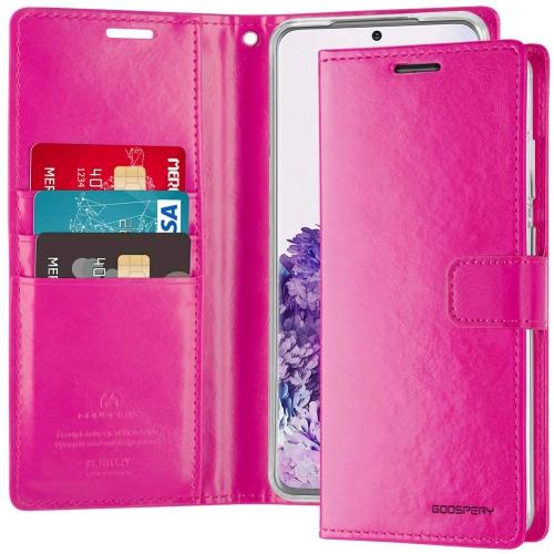 TopSave Goospery Bluemoon Diary Fente Pour Carte En Cuir Folio Wallet Etui à Rabat Pour Samsung A51, rose vif