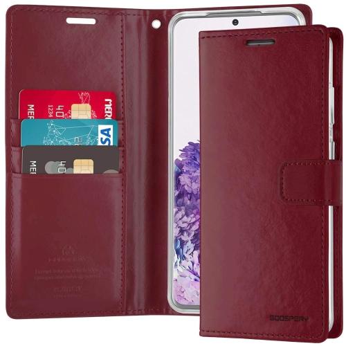 TopSave Goospery Bluemoon Diary Fente Pour Carte En Cuir Folio Wallet Etui à Rabat Pour Samsung A51,Bourgogne