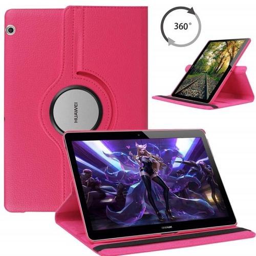 [CC] Housse de protection pour tablette pivotante à 360 degrés pour Huawei MediaPad T3, rose vif