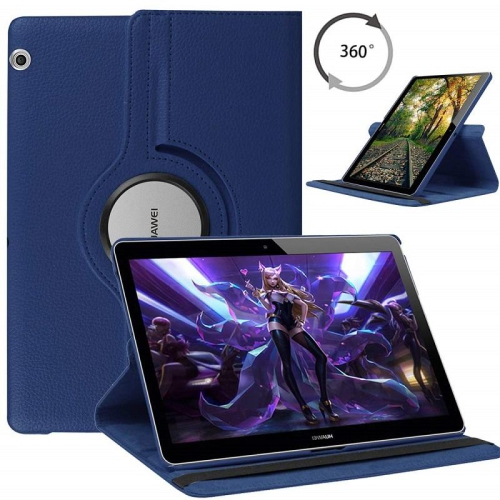 TopSave 360 Degree Rotating Tablet Case Cover For Huawei MediaPad T3, Navy Blue