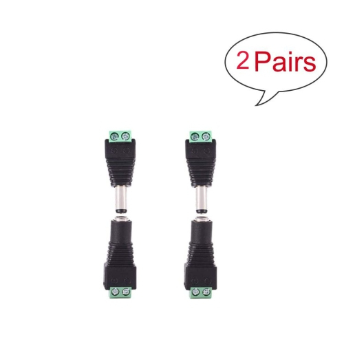 Hyfai 2 Pairs 4pcs DC Connector Male and Female Power Jack Adapter Connector Plug 2.1mm 5.5mm for LED Strip Light CCTV Camera