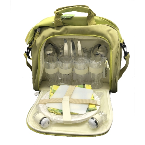 VGI Picnic Bag with Complete Cutlery Set, Stainless Steel -Green