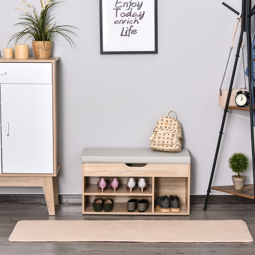 Entryway Living Room HOMCOM Shoe Bench Storgae Organizer with 2-Tier Rack for Storing Shoes Socks with Padded Seat for Hallway Grey