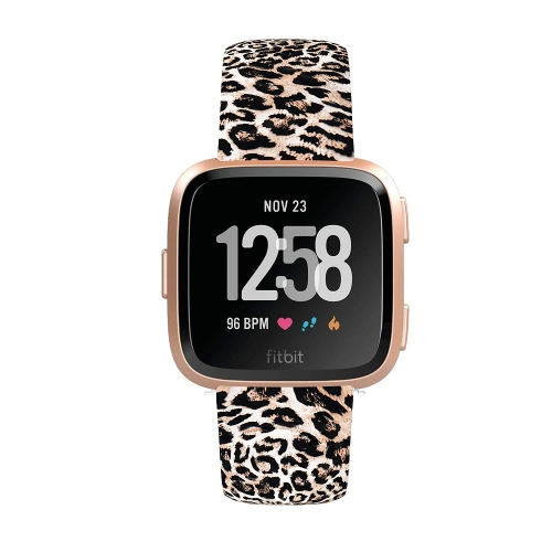 StrapsCo Patterned Pin-and-Tuck Rubber Watch Band Strap for Fitbit Versa - Leopard