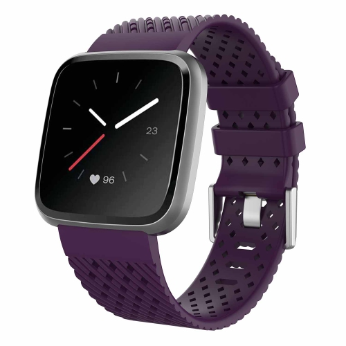 StrapsCo Perforated Textured Silicone Rubber Watch Band Strap for Fitbit Versa - Medium-Long - Dark Purple