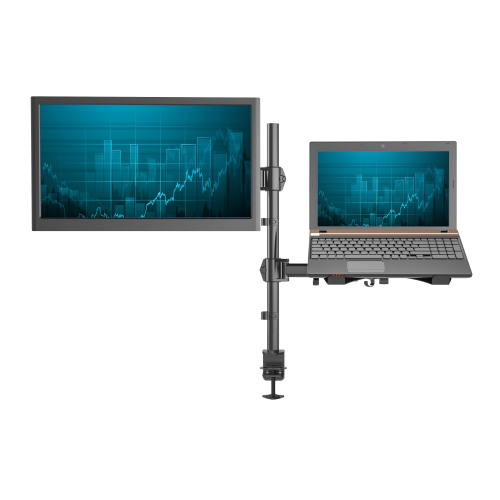 SHOPPINGALL Fully Adjustable Dual Monitor & Laptop Mount Stand - SA-LH07