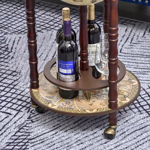 Beige HOMCOM Rolling 18 Globe Wine Bar Stand Wine Cabinet Bottle Shelf Holder Wine Host Trolley with Wheels