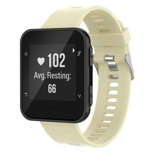 StrapsCo Silicone Rubber Watch Band Strap for Garmin Forerunner 30 & 35 - Beige