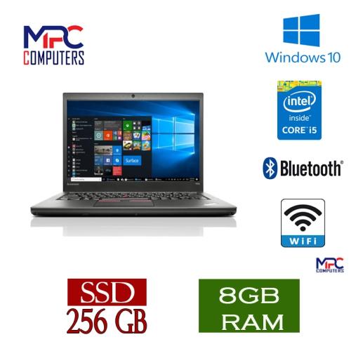 """Lenovo Grade A ThinkPad T450 14.0"""" Laptop Intel Core i5 5th Gen 5300U 8GB 256 GB SSD WIFI Win10 PRO -Refurbished"""