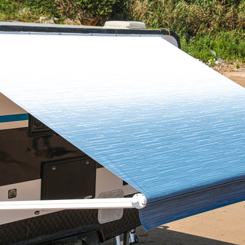 aleko 12 x8 retractable motorized rv or home patio canopy awning blue fade color