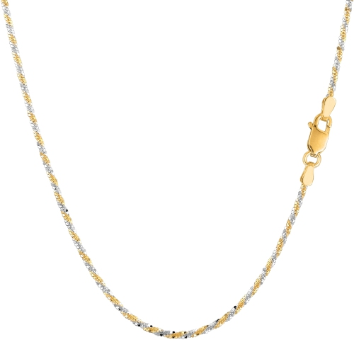 14k 2 Tone Yellow And White Gold Sparkle Chain Necklace, 1.5mm