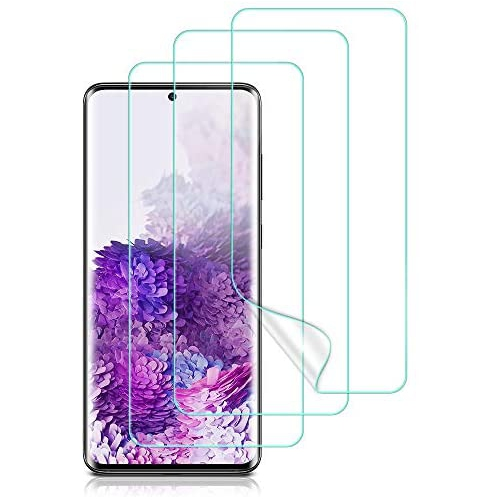 S20 Ultra Plus and Ultra Galaxy S20 HD Screen Protector Compatible with Samsung Galaxy S20 Flexible Film Full Coverage Bubble Free Touch Friendly Fingerprint Scanner 2-Pack + 1 More for Practice