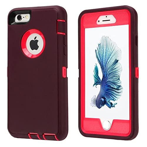 iPhone 6s Plus/6 Plus Case,Heavy Duty Armor 3 in 1 Built-in Screen Protector Rugged Cover Dust-Proof Shockproof