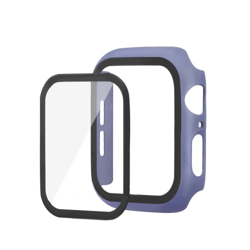 Bumper Hard Cover Case With Tempered Film Glass Screen Protector Coverage For Apple iWatch 44mm Series 4/5 - Violet