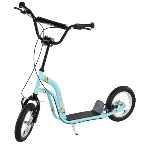 Aosom Youth Scooter Front and Rear Caliper Dual Brakes 12-Inch Inflatable Front Wheel Ride On Toy For Age 5+