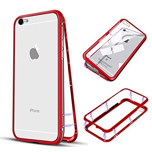 iPhone 6 6s Plus Case , Magnetic Adsorption Metal iPhone 6 6s Plus Case Ultra Slim Metal umper Frame Tempered Glass Hard ...