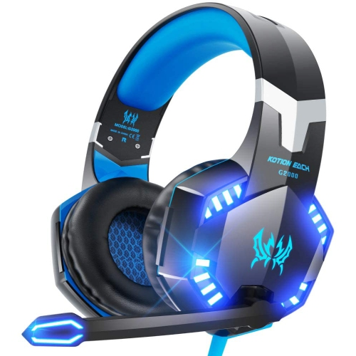 Gaming headset-lightweight aluminum frame-retractable heart-shaped microphone-suitable for PC, laptop, PS4, Nintendo Switch-3.5 mm headphone jack-bla