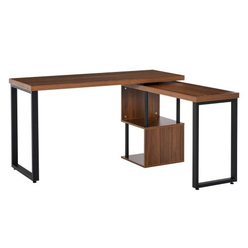 HOMCOM 360° Rotating Corner Desk L-Shaped PC Workstation Student Writing Table,Brown