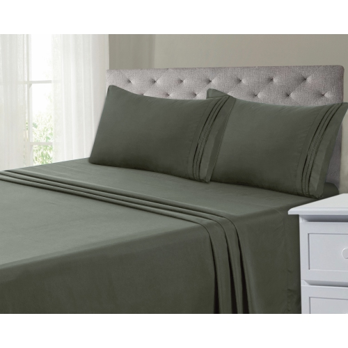 COMFII HOME Ultra-Soft Cool Dry Microfiber 4-Piece 1800 Hotel Bedsheets - Deep Pocket 14in - Wrinkle & Fade Free - Hypoallergenic, Embroidery Design