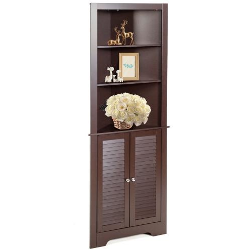Gymax Bathroom Corner Storage Cabinet Free Standing Tall Bathroom Cabinet W 3 Shelves Best Buy Canada
