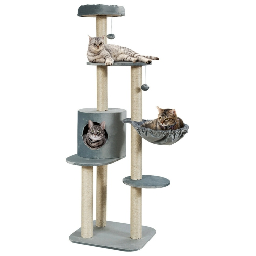Gymax 56.5'' Multi-Level Cat Tree Kitten Climbing Tower w/Sisal Post & Spacious Perches