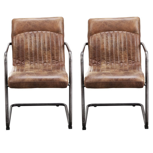 Ansel Traditional Genuine Leather Dining Arm Chair Set Of 2 Light Brown Best Buy Canada