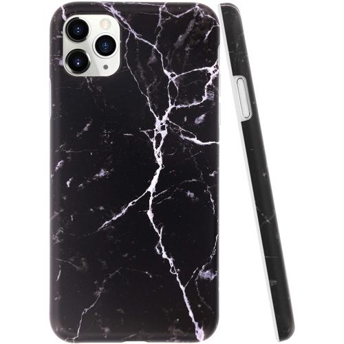 Coque iPhone 11 Pro Max Marbre noir, pierre fissurée Rock IMD Design Series Matte Anti-Scratch Protective Slim Fit Flexible TPU Rubber Silicone Cover ...