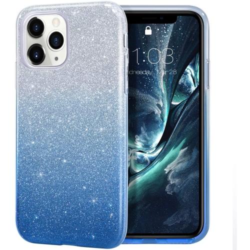Coque iPhone 11 Pro, coque étincelante brillante de luxe à paillettes scintillantes Bling, coque de protection hybride à 3 couches et antidérapante ...