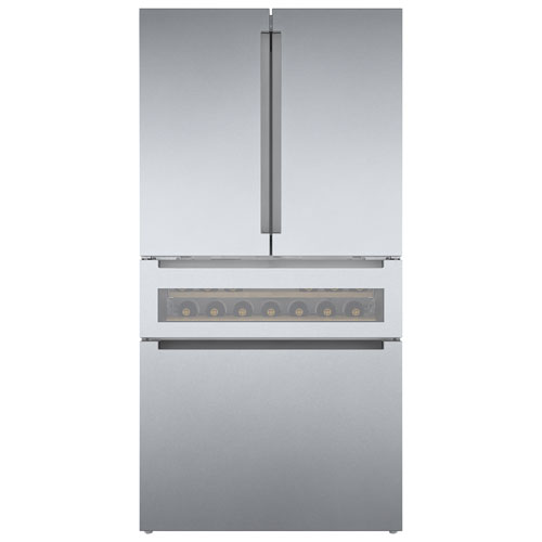 """Bosch 36"""" 21.2 Cu. Ft. French Door Refrigerator with Ice Dispenser - Stainless Steel"""