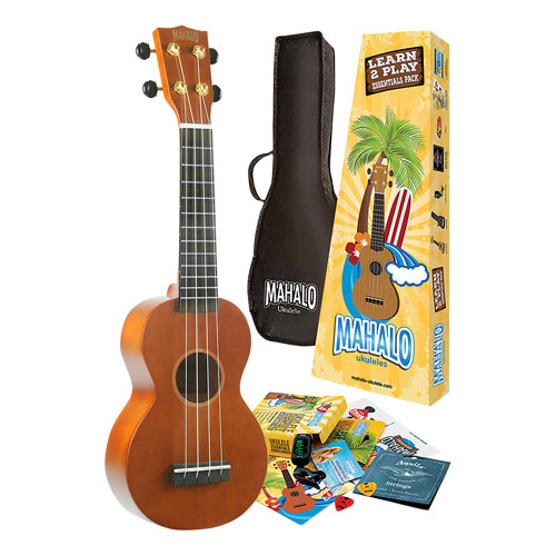 Mahalo Rainbow Learn to Play Ukulele Essentials Pack - Transparent Brown