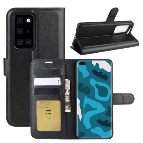 【CSmart】 Fente pour carte magnétique Étui Coque portefeuille en cuir Folio Housse pour Huawei P40 Pro, Noir