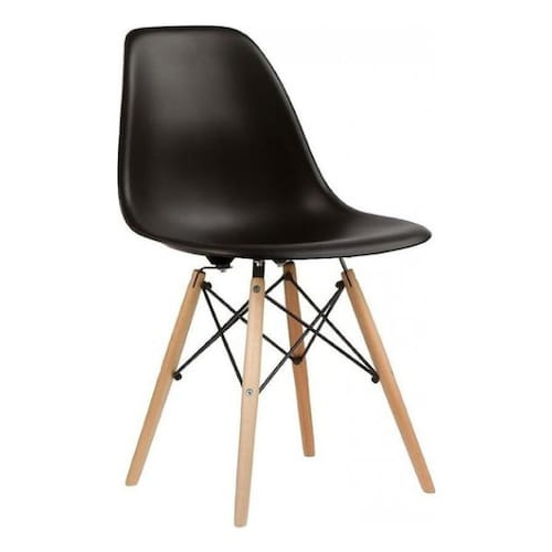 Nicer Furniture Set of One Black - Eames Style Side Chair with Natural Wood Legs Eiffel Dining Room Chair