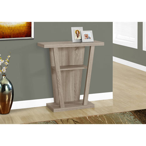 Monarch Contemporary Rectangular Console Table with Middle Shelf - Dark Taupe