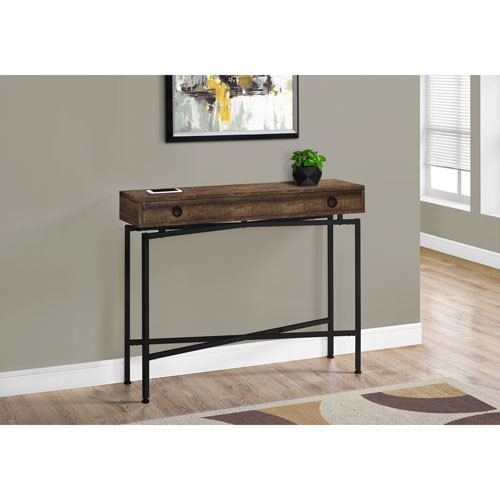 Monarch Modern Rectangular Console Table with Drawer - Brown/Black