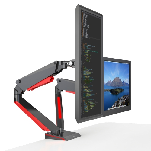 """SHOPPINGALL Fully Adjustable Premium Dual Gas Spring LCD Gaming Monitor Desk Mount Arm Stand with Red LED Backlights for 15""""-32"""" Monitors - SA-GE44"""