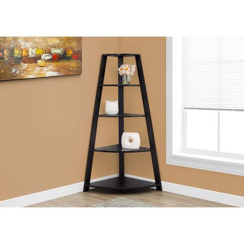 """Monarch 60"""" 4-Shelf Corner Bookcase - Cappuccino"""