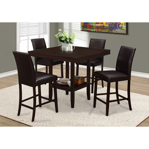 Contemporary 4 Seat Square Dining Table With Shelf Cappuccino Best Buy Canada