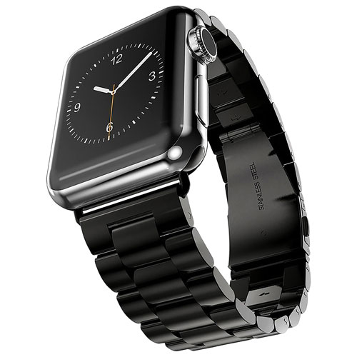 StrapsCo Stainless Steel Band for Apple Watch 42/44mm - Black
