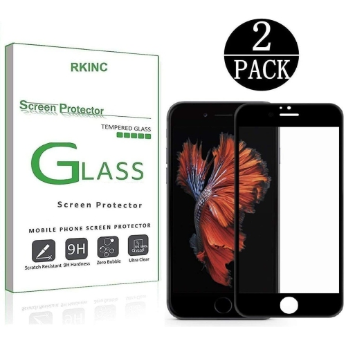 Rkinc For Apple Iphone 7 8 Screen Protector 2 Pack Full Coverage Tempered Glass Clear Screen Protector 9h Best Buy Canada