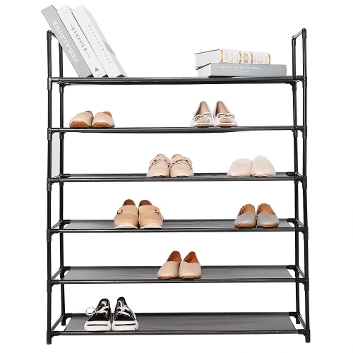 6-Tier Shoe Rack 30-Pair Shoes Storage Organizer, Stackable Entryway Shoes Shelf, Black