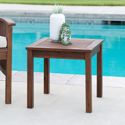Winmoor Home Transitional Square Outdoor Side Table - Dark Brown