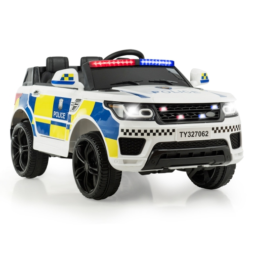 Costway Kids 12V Electric Ride On Police Squad Car with Remote Control Bluetooth - 2 Seater SUV Rover - White