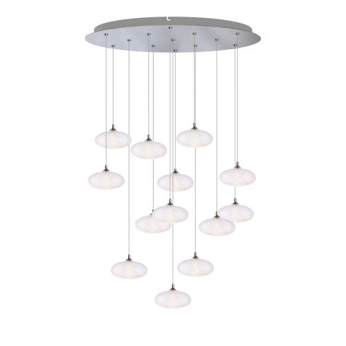 Luna 13 Light Chrome Pendant - Round Canopy
