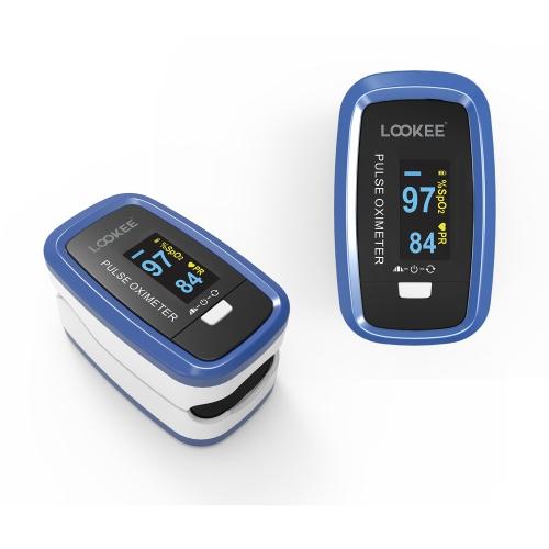 Oxymètre de pouls au doigt de luxe LOOKEE® LK50D1A   Moniteur de saturation en oxygène du sang avec écran à rotation automatique, forme d'onde du plé
