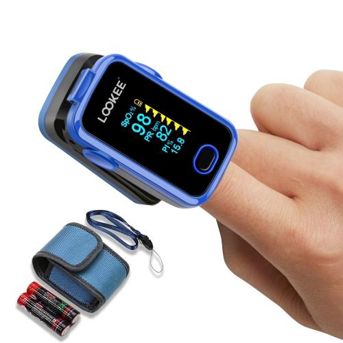 Moniteur de saturation en oxygène sanguin avec oxymètre de pouls LOOKEE® A310 Premium avec alarme, pléthysmographe et indice de perfusion