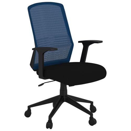 Fauteuil de bureau ergonomique en filet à dossier mi-hauteur Onyx de Bestar - Bleu/Noir