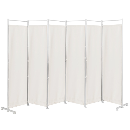 Costway 6 Panel Room Divider Folding Privacy Screen W Steel Frame Decoration White Best Buy Canada