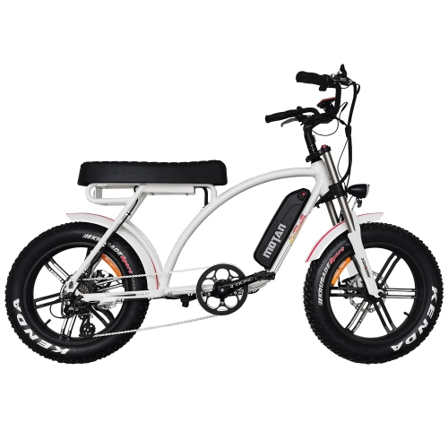 """20"""" 750W 48V 14Ah Electric Bicycles, Fat Tire Electric Bike, Cruiser Commuter Beach City E-Bike for Adults Addmotor M-60 R7, White"""