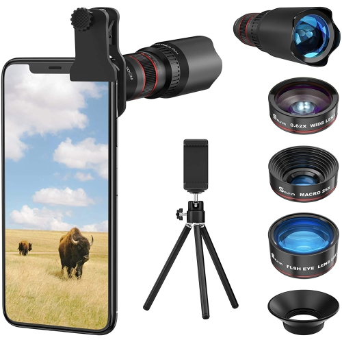 Selvim Phone Camera Lens Kit 4 In 1 22x Telephoto Lens 235 Fisheye Lens 0 62x Wide Angle Lens 25x Macro Lens Compatible With Iphone 11 10 8 7 6 6s Plus X Xs Xr Samsung Best Buy Canada