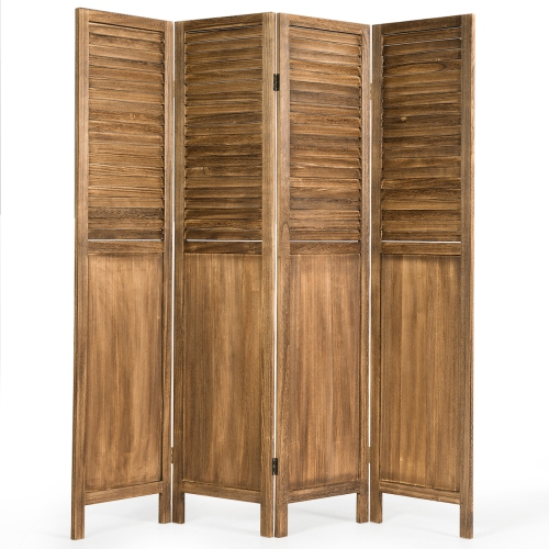 Costway 4 Panel Folding Privacy Room Divider Screen Home Furniture 5 6 Ft Tall Brown Best Buy Canada
